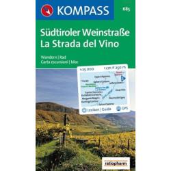 Carte randonnées Südtiroler Weinstraße/La Strada del Vino  Kompass 685