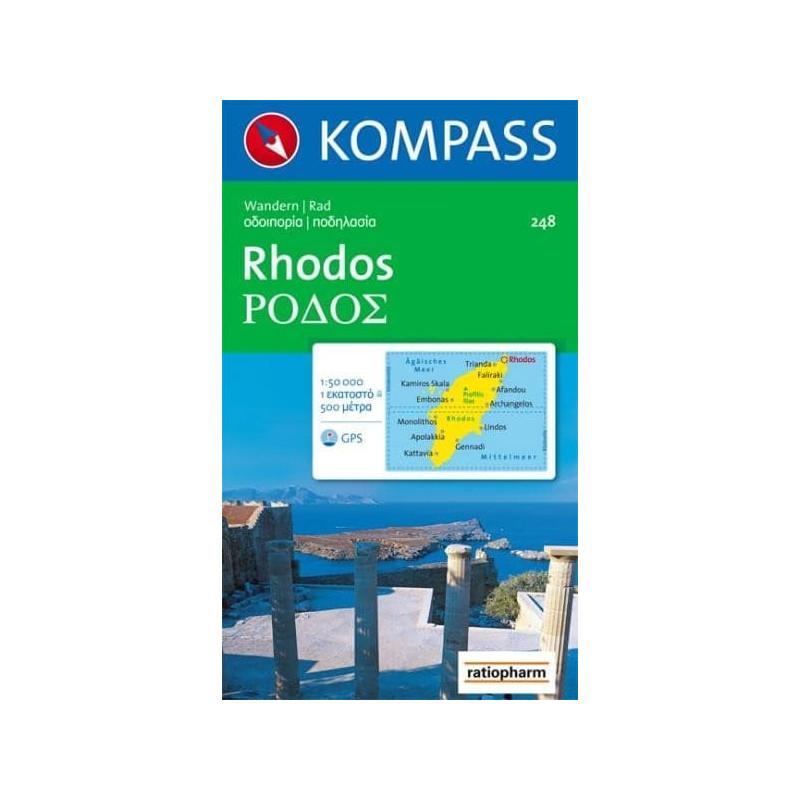 Achat Carte randonnées Rhodes - Kompass 248