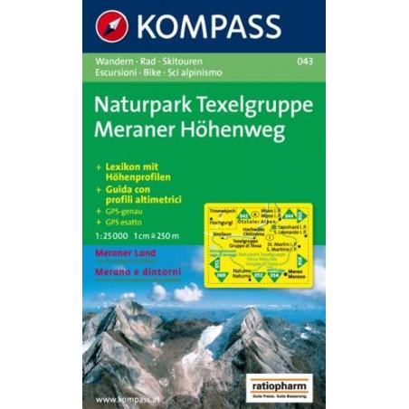 Achat Carte randonnées Naturpark Texelgruppe. Meraer Höhenweg - Kompass 043