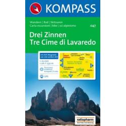 Achat Carte randonnées Drei Zinnen, Tre Cime di Lavaredo - Kompass 047