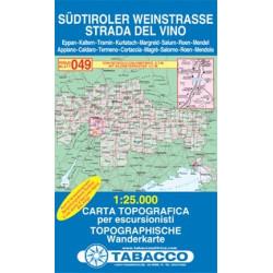 Carte randonnées - Sudtiroler Weinstrasse, Strada del Vino - Tabacco 049