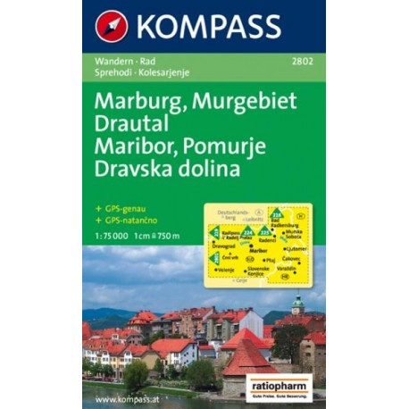 Achat Carte randonnées Maribor, Pomurje, Dravska dolina / Marburg, Murgebiet, Drautal - Kompass 2802