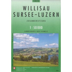 Carte randonnées swisstopo - Willisau Sursee Luzern - 5022