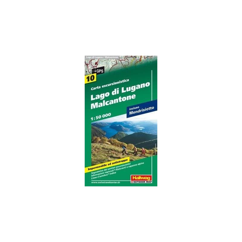 Achat Carte randonnées Lugano / Malcantone - Hallwag 10