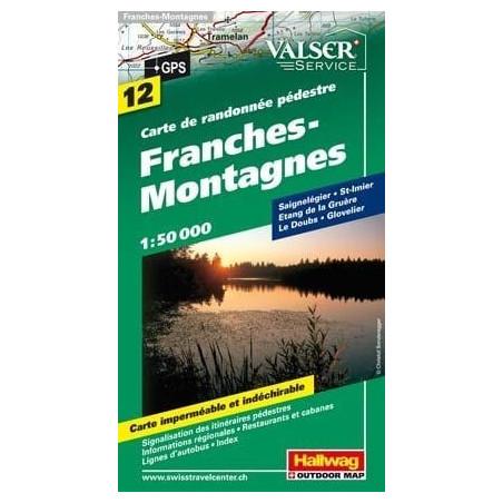 Achat Carte randonnées Franches montagnes, Freiberge - Hallwag 12
