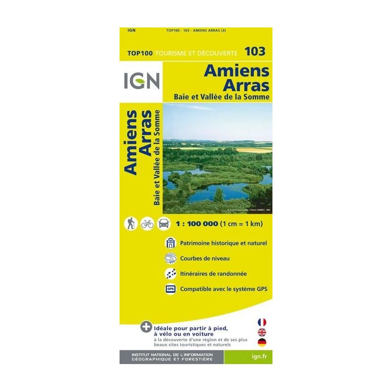 Achat Carte routière TOP 100 IGN - Amiens Arras - 103