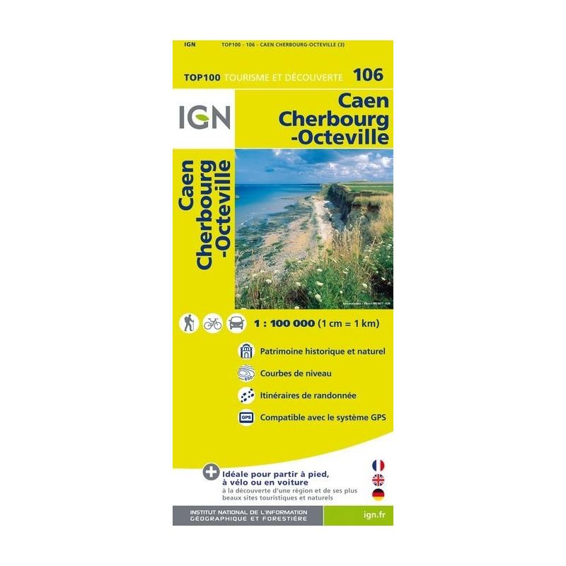 Achat Carte routière TOP 100 IGN - Caen Cherbourg-Octeville - 106