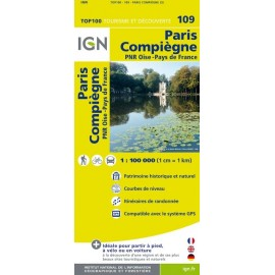 Achat Carte routière TOP 100 IGN - Paris, Compiègne - 109