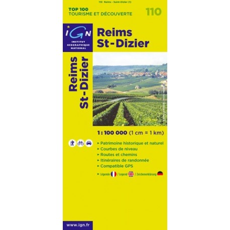 Achat Carte routière TOP 100 IGN - Reims, St-Dizier - 110