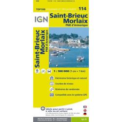 Achat Carte routière TOP 100 IGN - St-Brieuc, Morlaix - 114