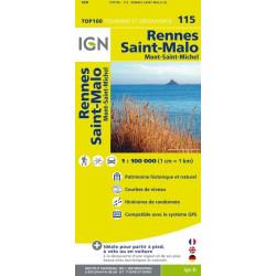 Achat Carte routière TOP 100 IGN - Rennes, Saint-Malo - 115