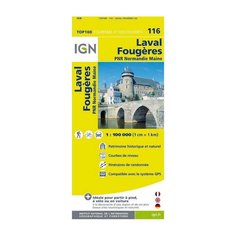 Achat Carte routière TOP 100 IGN - Laval, Fougères - 116