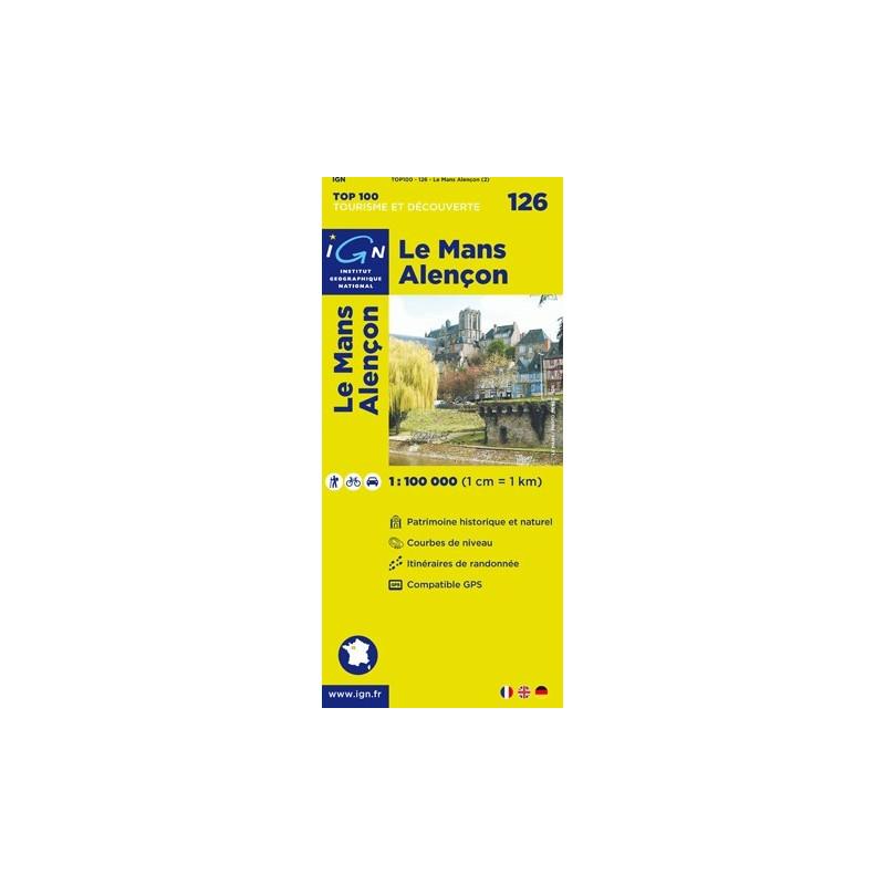 Achat Carte routière TOP 100 IGN - Le Mans Alençon - 126