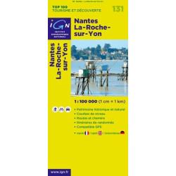 Achat Carte routière TOP 100 IGN - Nantes La-Roche-sur-Yon - 131