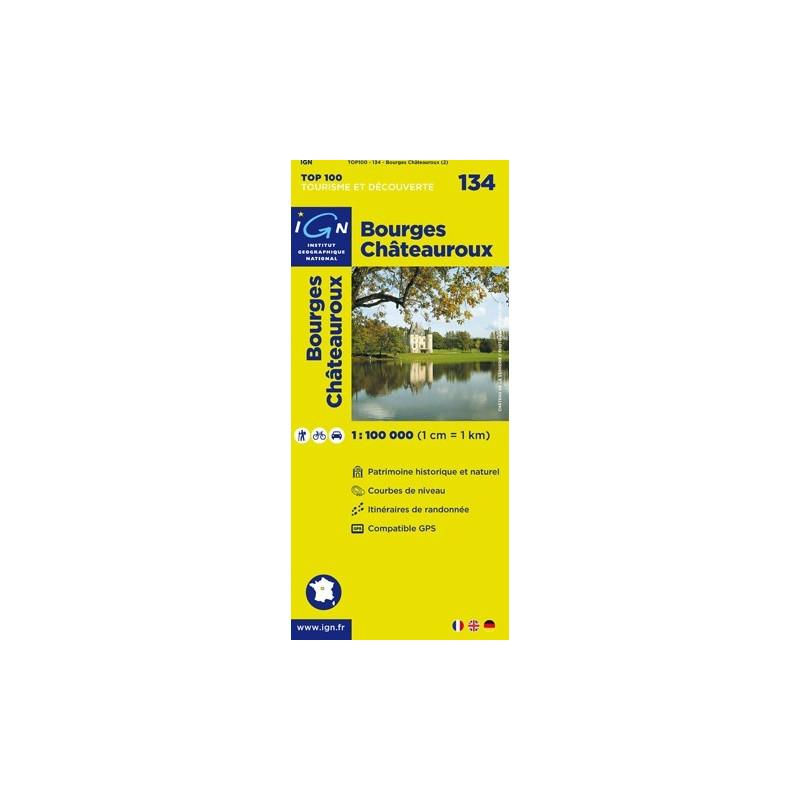 Achat Carte routière TOP 100 IGN - Bourges Châteauroux - 134