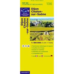 Achat Carte routière TOP 100 IGN - Dijon Châlon-sur-Saône - 136