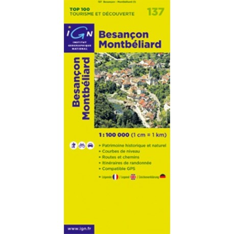 Achat carte routi re top 100 ign besan on montb liard 137 for Montbeliard besancon