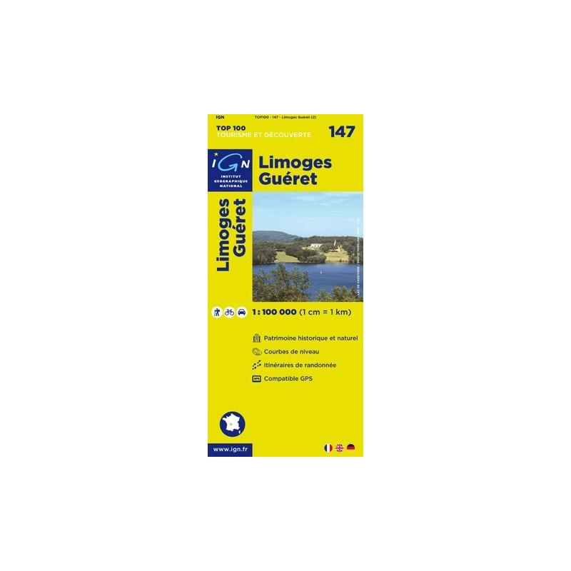 Achat Carte routière TOP 100 IGN - Limoges Guéret - 147