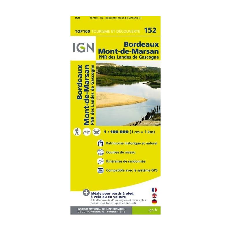 Achat Carte routière TOP 100 IGN - Bordeaux Mont-de-Marsan - 152