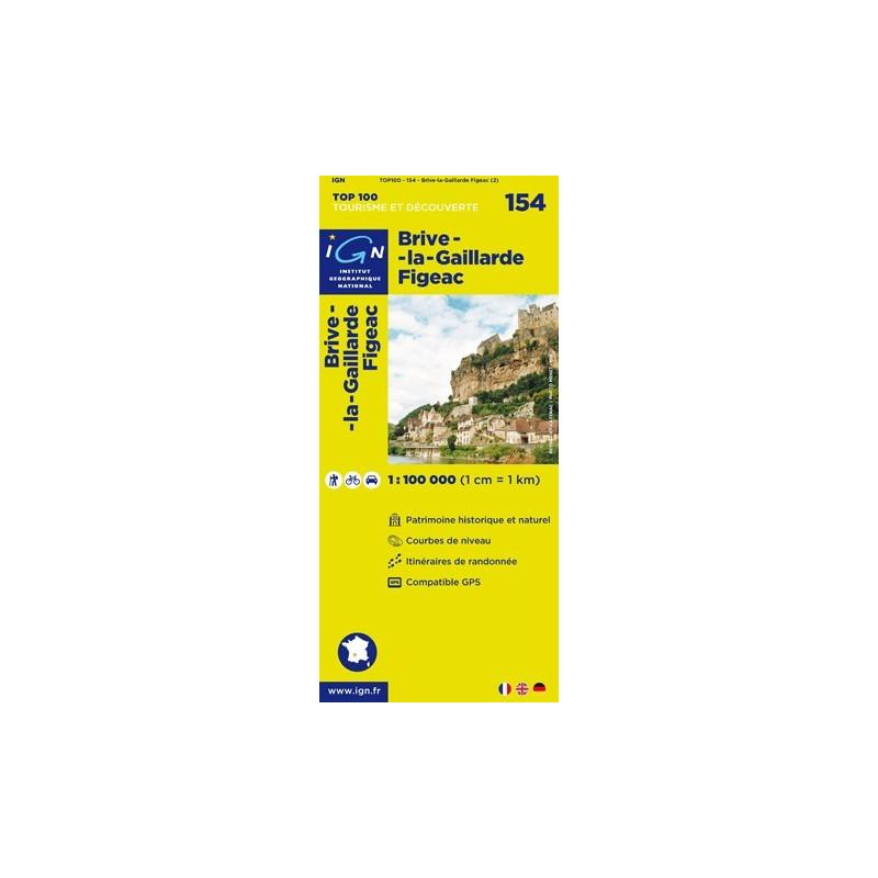 Achat Carte routière TOP 100 IGN - Brive-la-Gaillarde Figeac - 154