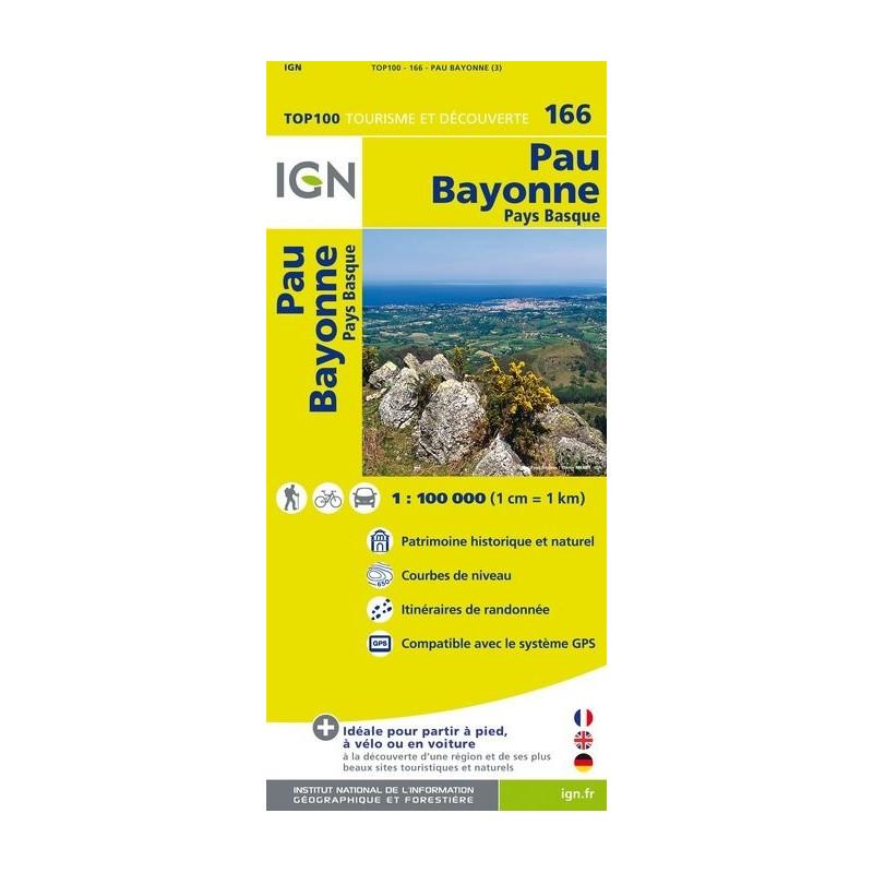 Achat Carte routière TOP 100 IGN - Pau Bayonne - 166