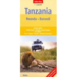 Achat Carte routière - Tanzania, Rwanda, Burundi - Nelles