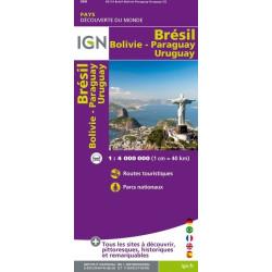 Achat Carte routière IGN - Brésil, Bolivie, Paraguay, Uruguay