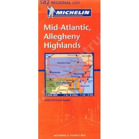 Achat Carte routière Michelin - Mid-Atlantic, Allegheny Highlands - 582