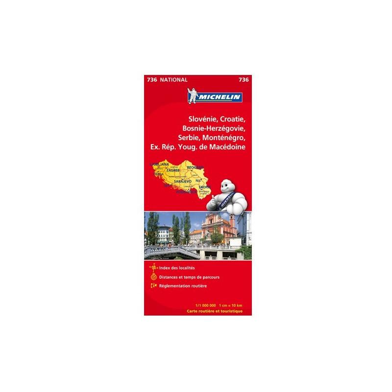 Achat Carte routière Michelin - Slovénie, Croatie, Bosnie-Herzégovine - 736