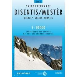 Carte ski randonnée Disentis,Mustér  - swisstopo 256S