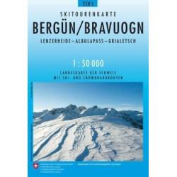 Carte ski randonnée Bergun,Bravuogn - swisstopo 258S