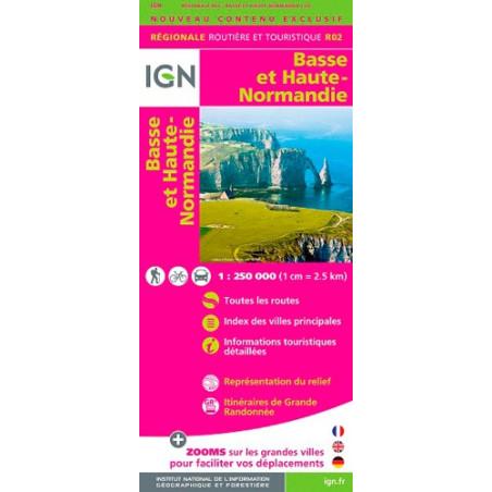 Achat carte routière Basse et Haute Normandie - IGN R02