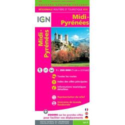 Achat Carte routière IGN - Midi-Pyrénées 2018 - R16