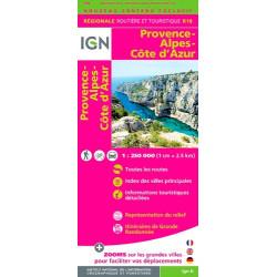 Achat Carte routière IGN - Provence-Alpes-Côte d'Azur 2018 - R18