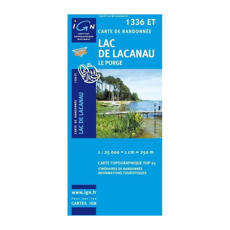 Carte randonnées IGN Lac de Lacanau - 1336 ET