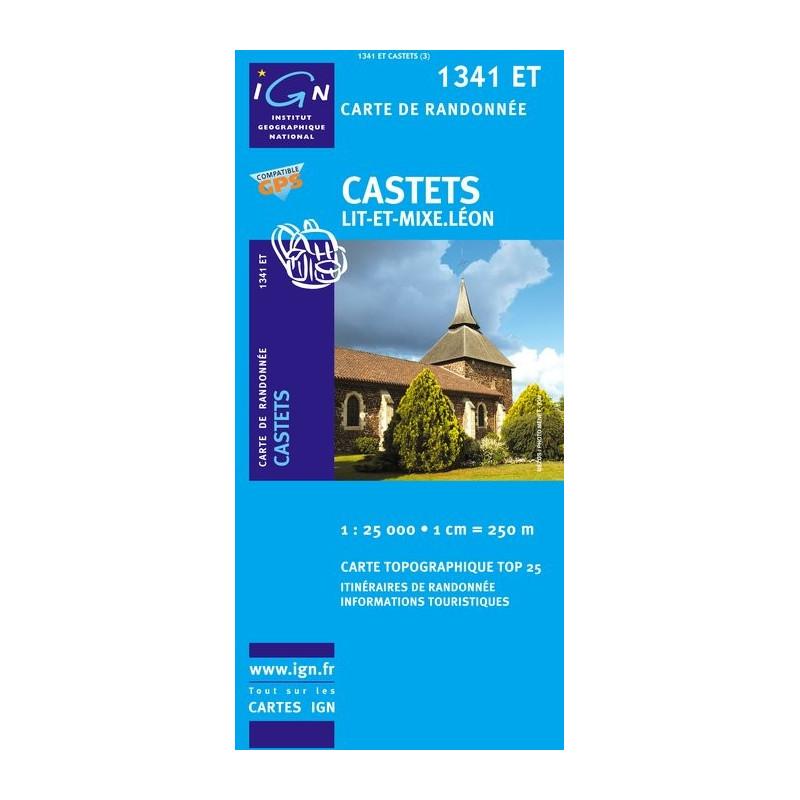 Carte randonnées IGN Castets - Lit-et-Mixe - Léon - 1341 ET