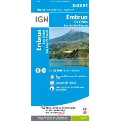 Achat Carte randonnées IGN Embrun - Les Orres Lac de Serre Ponçon - 3438 ET