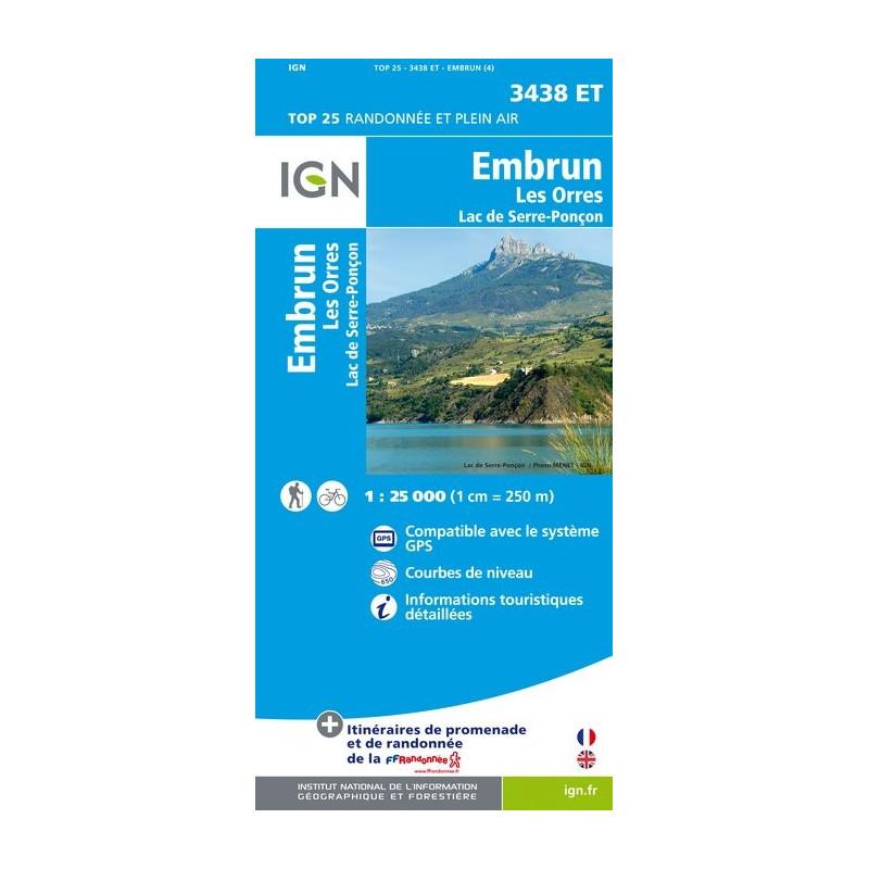 Embrun - Les Orres Lac de Serre Ponçon - IGN 3438 ET