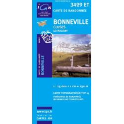 Achat Carte randonnées IGN Bonneville - Cluses - 3429 ET