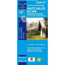 Achat Carte randonnées IGN Haute Vallée Du Var - Gorges de Daluis - 3540 ET