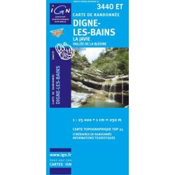 Achat Carte randonnées IGN Digne Les Bains - La Javie - 3440 ET