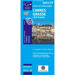 Achat Carte randonnées IGN Cannes Grasse - Côte d'Azur - 3643 ET