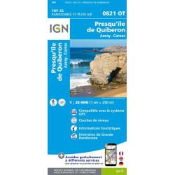 Achat Carte randonnées IGN Presqu'île De Quiberon - Auray Carnac - 0821 OT