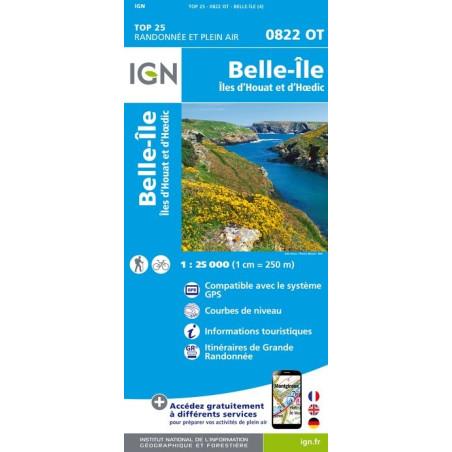 Achat Carte randonnées IGN Belle Île - Îles d'Houat et d'Hoëdic - 0822 OT