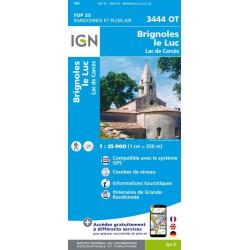 Achat Carte randonnées IGN - 3444 OT - Brignoles Le Luc - Lac de Carcès