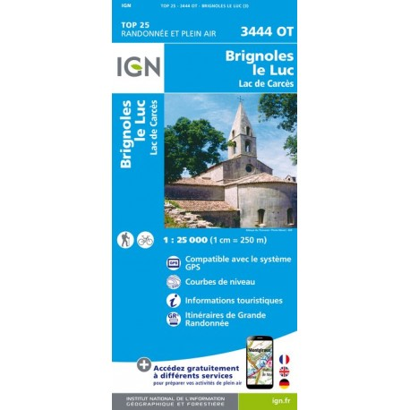 Brignoles Le Luc - Lac de Carcès - IGN - 3444 OT