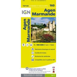 Achat Carte routière TOP 100 IGN - Agen Marmande - 160