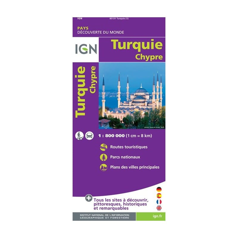 Carte Ign Chypre.Achat Carte Routiere Turquie Chypre Ign