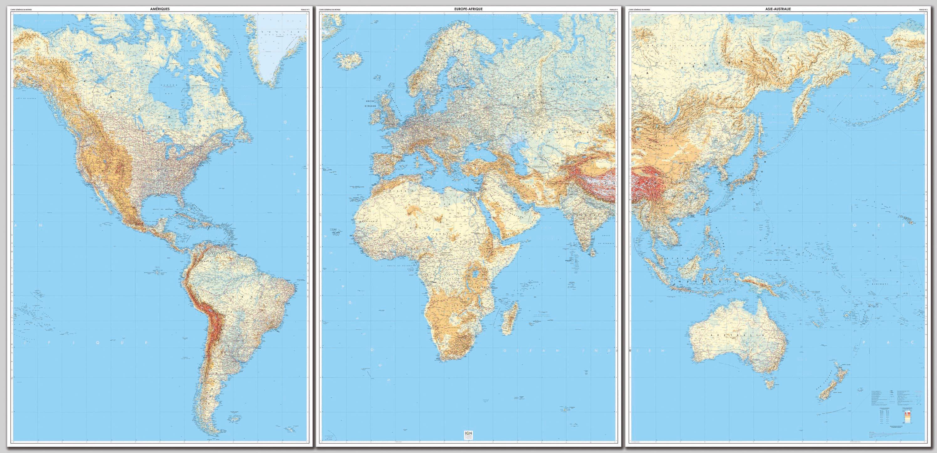Assez Planisphère, poster affiche monde et sous-mains carte monde  US01