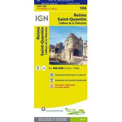 Achat Carte routière TOP 100 IGN - Reims Saint-Quentin - 104